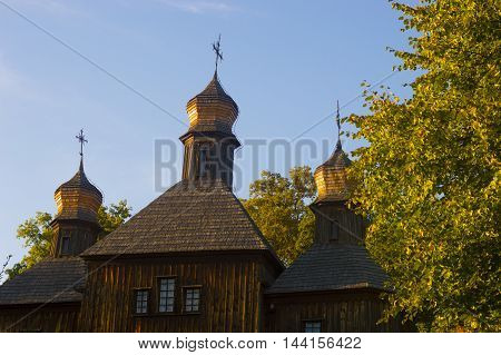 Old Wooden Church Law Angle Detail in Countyside