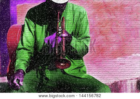 Musician jazz is a colorful urban illustration of an old time trumpet player tuning up his instrument by blowing his horn.