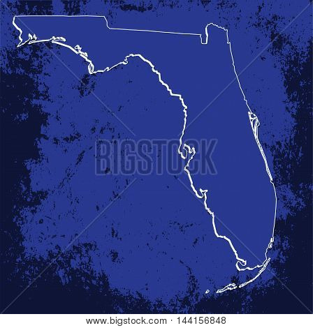 3D Florida (USA) Grunge Blueprint outline map with shadow