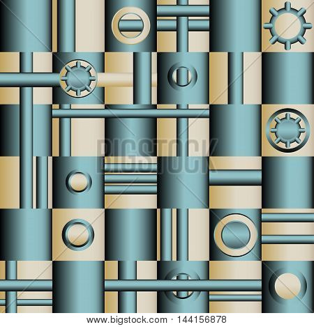 Vector seamless pattern. Stylish texture. Geometric tiles pipes and valves.