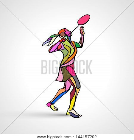Silhouette of abstract female badminton player doing smash shot. Color vector illustration of professional badminton player.