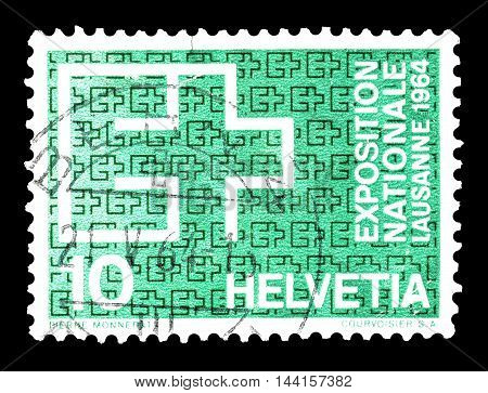 SWITZERLAND - CIRCA 1964 : Cancelled postage stamp printed by Switzerland, that shows EXPO badge.