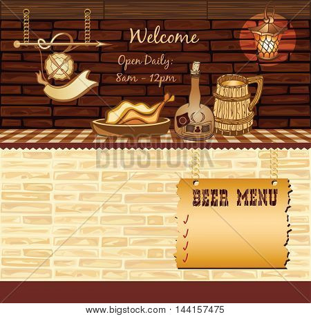 Retro Cafe Template, vector brick background, space for text