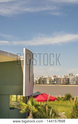 MONTEVIDEO, URUGUAY, DECEMBER - 2015 - Luxury restaurant with nice view of river and skyline in Montevideo Uruguay