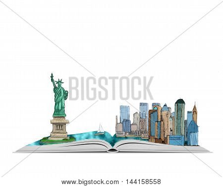 Hand drawn illustration of New York City and the Statue of Liberty on an open book, isolated on white background. World heritage. Trade and business center. Book about the USA. Source of knowledge.