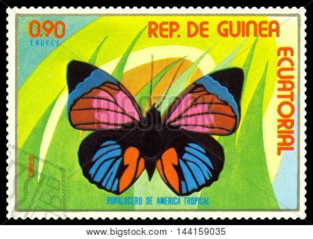 STAVROPOL RUSSIA - August 25 2016: A stamp printed in Equatorial Guinea shows butterfly Ropalogero de America Tropical circa 1976.