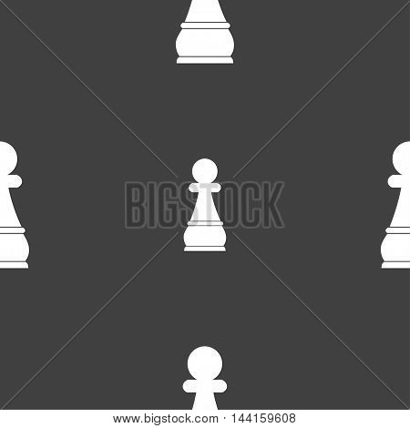 Chess Pawn Sign. Seamless Pattern On A Gray Background. Vector