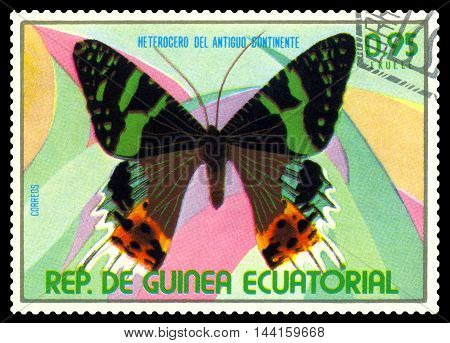 STAVROPOL RUSSIA - August 25 2016: A stamp printed in Equatorial Guinea shows butterfly Heterogero del antiguo continente circa 1976.
