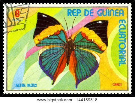 STAVROPOL RUSSIA - August 25 2016: A stamp printed in Equatorial Guinea shows butterfly Kallima Inachus circa 1976.