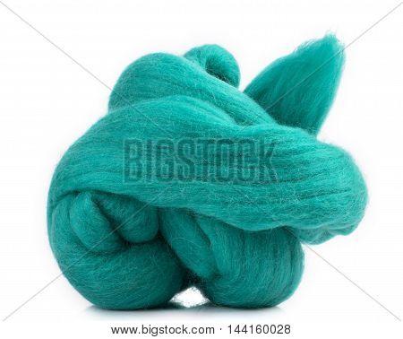 Hank merino wool green on a white background