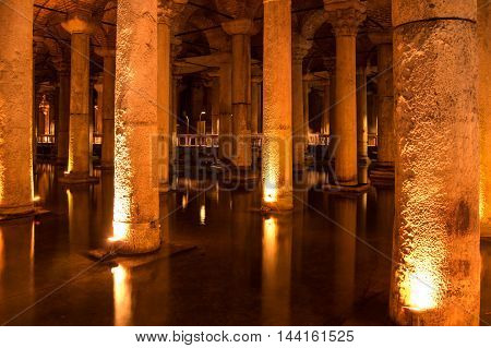 ISTANBUL, TURKEY - JUNE 20, 2015: The Basilica Cistern is the largest of several hundred ancient cisterns that still lie beneath the city of Istanbul former Constantinople Turkey