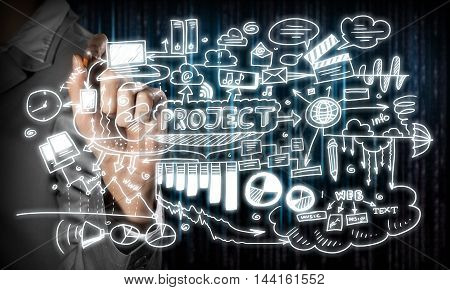 Hand of businesswoman drawing on screen new project plan