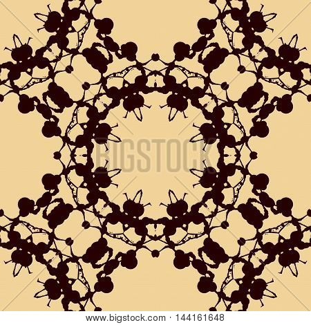 Design rorschach inkblot test. Brown on yellow watercolor symmetric blotch. Abstract hand drawn painting endless pattern. Seamless decorative background.
