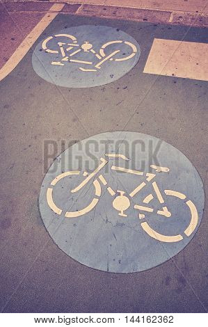 Bicycle Path Signs On A Road.