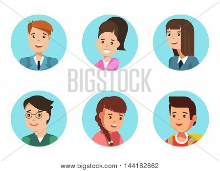 Set of shool kids color icon avatar. Vector illustration of a flat design