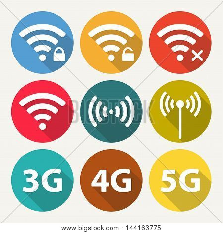 Wifi and wireless icon set for remote internet access. Podcast vector symbols in flat style. 3G, 4G and 5G technology signs.
