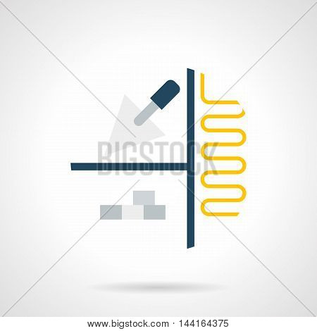 Abstract symbol of project for floor insulation and heating. House renovation work. Plan with yellow underfloor pipeline, gray tile and trowel. Single flat color design vector icon.