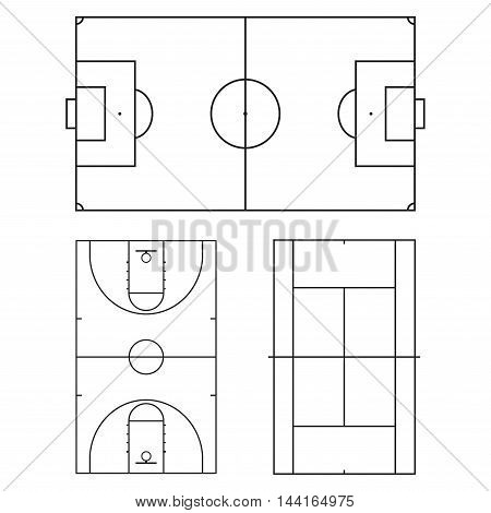 Football or soccer, tennis and basketball fields. Realistic blackboard for tactic plan. Vector illustration.