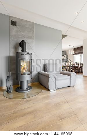 Interior Where Fireplace Heats Atmosphere