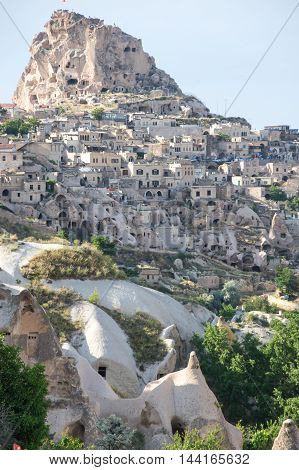 Stone houses of Ushisar in Cappadocia Central AnatoliaTurkey
