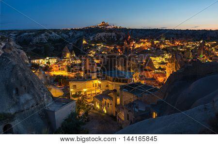 Goreme town in the night in Cappadocia Central AnatoliaTurkey