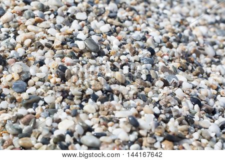 Beach with macro pebbles sea rocks texture