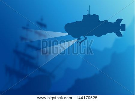 Blurred underwater background with blue submarine silhouette and old sunken ship. Vector illustration EPS10.