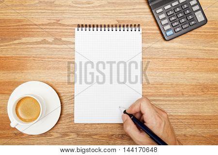Desktop With Blank Notebook