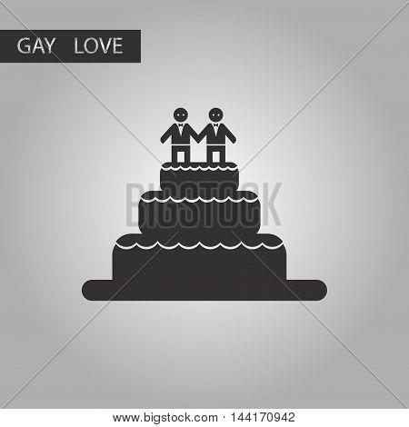 black and white style icon gay wedding cake