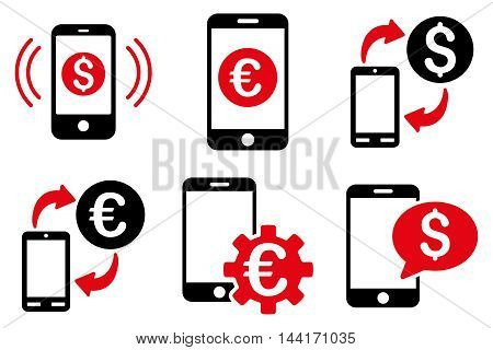 Mobile Banking vector icons. Pictogram style is bicolor intensive red and black flat icons with rounded angles on a white background.