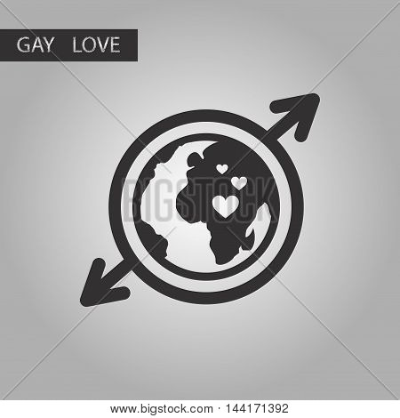 black and white style icon gay Earth symbol