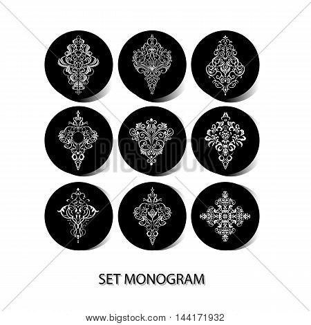 PATTERNS / Doily - set of 9 design elements, wedding pattern, embroidery elements, vector illustration