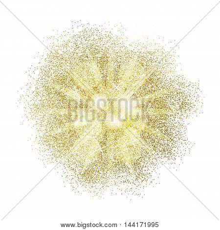 Gold glitter splash on white background. Vector illustration.