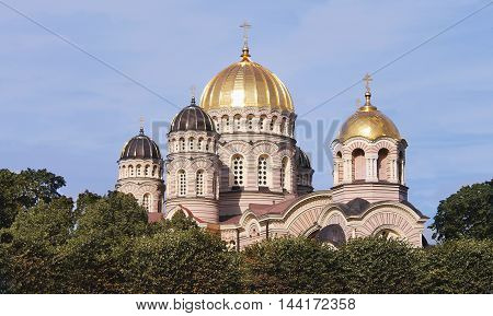 old church with a golden dome riga