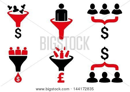 Sales Funnel vector icons. Pictogram style is bicolor intensive red and black flat icons with rounded angles on a white background.