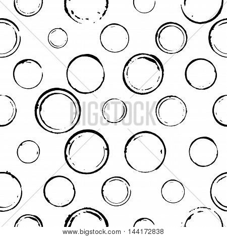 Seamless pattern with hand drawn circles. Ink illustration. Isolated on white background. Hand drawn ornament for wrapping paper.