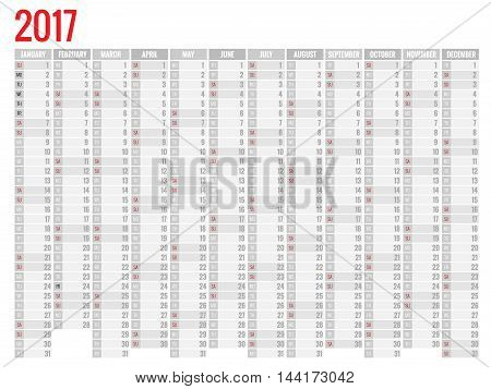 Design of Wall Monthly Calendar for 2017 Year. Week Starts sunday. Set of 12 Months