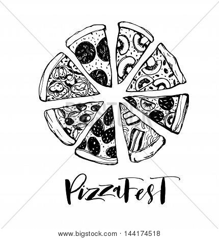 Pizza Fest lettering. Hand drawn lettering for holiday. Hand drawn pizza slice. Ink illustration. Modern brush calligraphy. Isolated on white background.