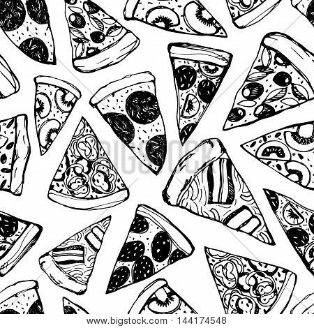 Seamless pattern with hand drawn pizza. Pizza design template. Food ornament for wrapping paper. Ink illustration. Pattern for Pizza Fest.