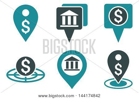 Bank Location vector icons. Pictogram style is bicolor soft blue flat icons with rounded angles on a white background.