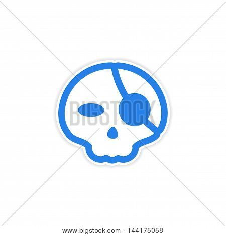 sticker stylish skull with eye patch on white background