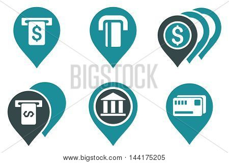 Banking ATM Pointers vector icons. Pictogram style is bicolor soft blue flat icons with rounded angles on a white background.