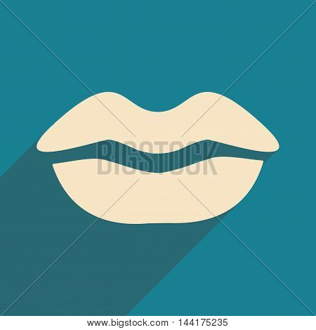 Flat with shadow icon and mobile application lips