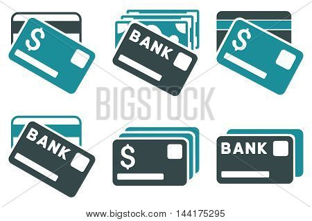 Banking Cards vector icons. Pictogram style is bicolor soft blue flat icons with rounded angles on a white background.