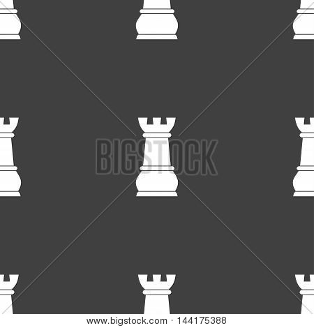 Chess Rook Sign. Seamless Pattern On A Gray Background. Vector