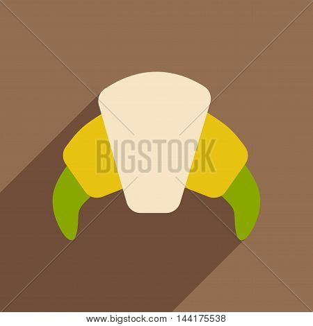 Flat with shadow icon and mobile application croissant