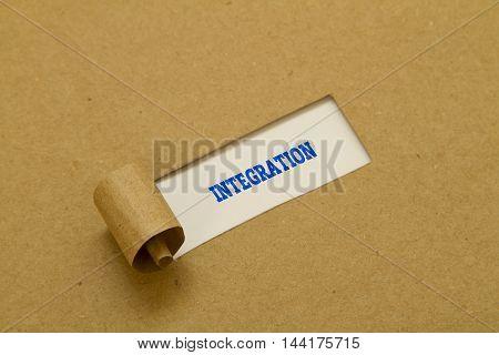 Integration Word written under torn paper .