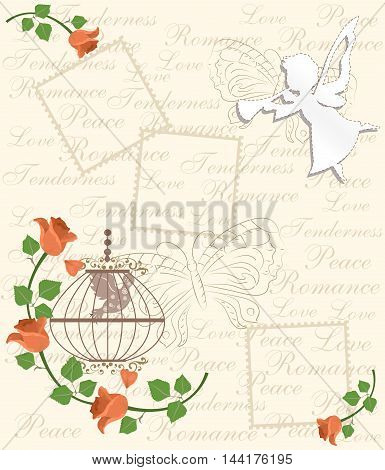 illustration - card - in vintage style with beautiful flowers - the roses.