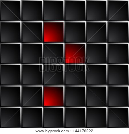 Industrial and technological dark background polished black squares. Red lights some figures.