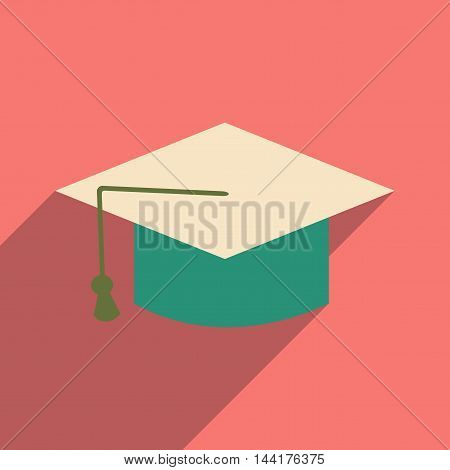 Flat with shadow icon and mobile application graduation cap